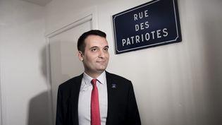 Florian Philippotdans le local national du mouvement politique Les Patriotes à Saint-Ouen (Seine-Saint-Denis), le 18 décembre 2017. (MAXPPP)