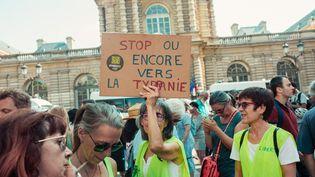 Une manifestation contre le pass sanitaire, le 22 juillet 2021 à Paris. (CHRISTOPHE MICHEL / HANS LUCAS / AFP)