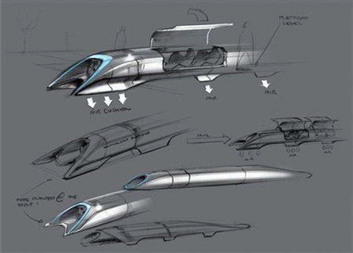 Des croquis de l'Hyperloop, réalisés par l'entrepreneur Elon Musk, et publiés le 12 août 2013. (EYEPRESS NEWS / AFP)