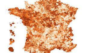 La carte de France de la taxe d'habitation, en 2019. (ROBIN PRUDENT / FRANCEINFO)