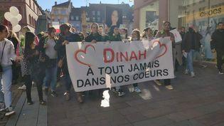Plusieurs centaines de personnes ont participé à une marche blanche à Mulhouse en hommage à Dinah, dimanche 24 octobre 2021. (JULIEN PENOT / RADIO FRANCE)