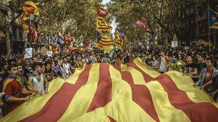 La vague de joie des indépendantistes catalans, ici le jour de la proclamation, vendredi 27 octobre, estreçue avec prudence, voire inquiétude, côté français, dans la région de Perpignan. (MAXPPP)
