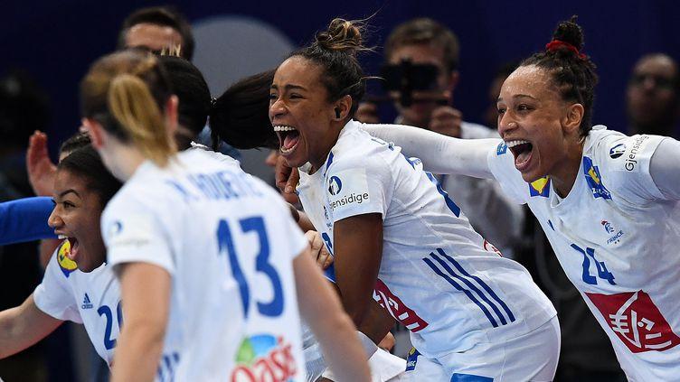 La joie des Bleues, qualifiées pour la finale de l'Euro de handball après leur victoire face aux Pays-Bas (FRANCK FIFE / AFP)