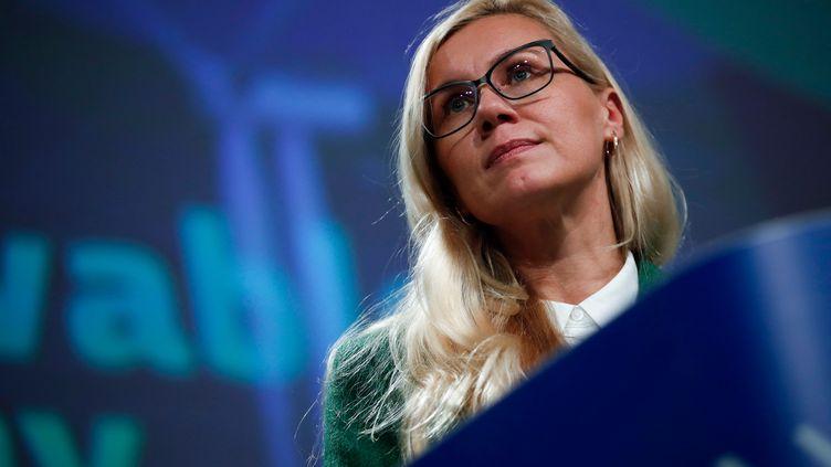La commissaire européenne pour l'Energie,Kadri Simson, à Bruxelles (Belgique) le 19 novembre 2020. (FRANCISCO SECO / AFP)