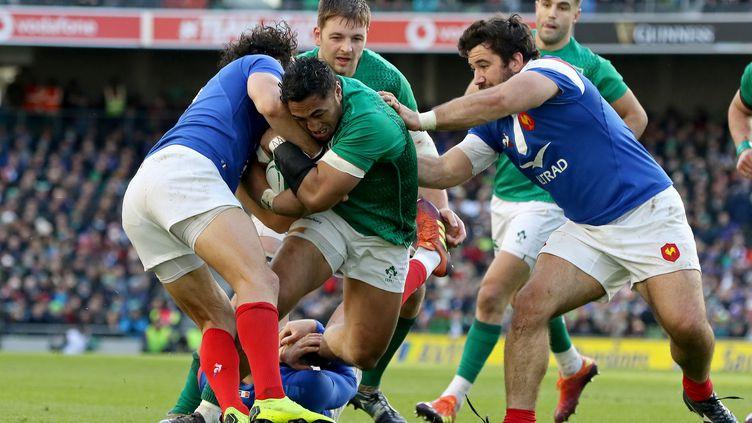 Les joueurs du XV irlandais face aux Français, le 10 mars 2019 à Dublin (Irlande). (PAUL FAITH / AFP)
