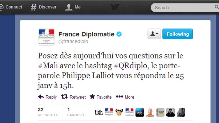 Capture d'écran du fil Twitter du ministère des Affaires étrangères, le 25 janvier 2013. (FRANCETV INFO)