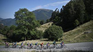 Les échappés sur la 8e étape du Tour de France entre Cazères-sur-Garonne et Loudenvielle, le 5 septembre 2020. (ANNE-CHRISTINE POUJOULAT / AFP)