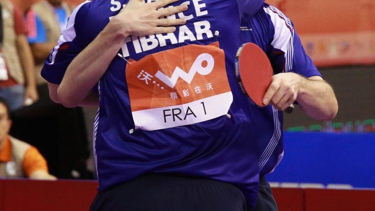 Le bonheur des deux leaders de ping tricolore: Emmanuel Lebesson et Simon Gauzy (GROS RÉMY)