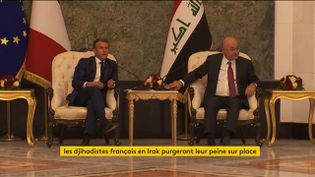 Emmanuel Macron en Irak avec le président irakien (FRANCEINFO)