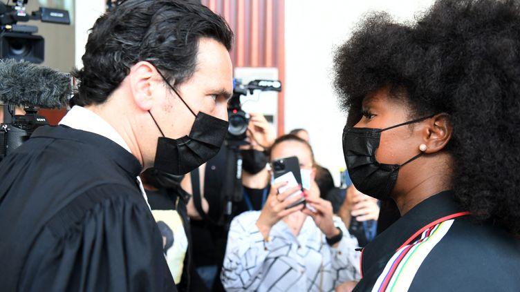 Florian Lastelle, l'avocat de Bagui Traoré etAssa, sa sœur, le 21 juin 2021 à Pontoise (Val-d'Oise). (ALAIN JOCARD / AFP)