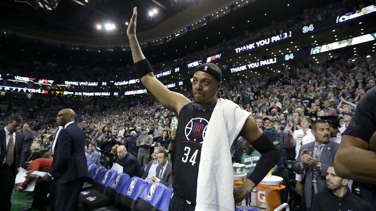 Paul Pierce (LA Clippers), pour son dernier match à Boston, face aux Celtics. (STEVEN SENNE/AP/SIPA / AP)
