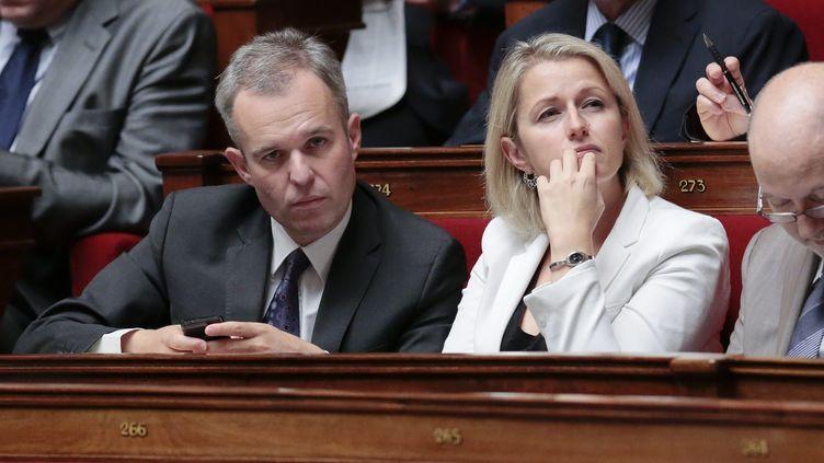 Les coprésidents du groupe EELV à l'Assemblée nationale, François de Rugy et Barbara Pompili, le 11 septembre 2013, au palais Bourbon. (MAXPPP)
