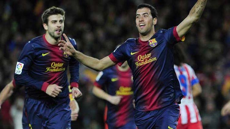 La joie de Busquets, dont le contrat a été prolongé jusqu'en 2019 avec le club catalan.