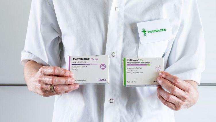 Des boîtes de Levothyrox et d'Euthyrox, deux médicaments contre l'hypothyroïdie, en juillet 2019. (VOISIN / PHANIE / Afp)