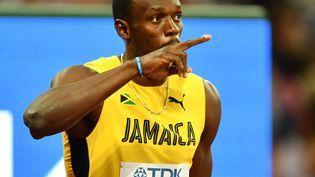 Le roi du sprint Usain Bolt, le4 août 2017 lors des Mondiaux d'athlétisme de Londres (Royaume-Uni). (MUSTAFA YALCIN / ANADOLU AGENCY / AFP)