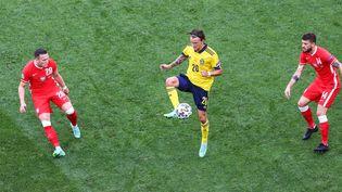 La Suède est devant1-0 face à la Pologne grâce à un but deEmil Forsberg à la 2e minute du match. (FOTO OLIMPIK / NURPHOTO / AFP)