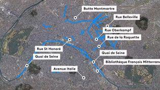 Une carte des quartiers concernés par le port du masque obligatoire à Paris. (FRANCE 2)
