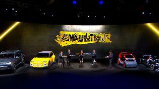 Lors de la présentation de la nouvelle stratégie du constructeur automobile français Renault, le 14 janvier 2021. (RENAULT / AFP)