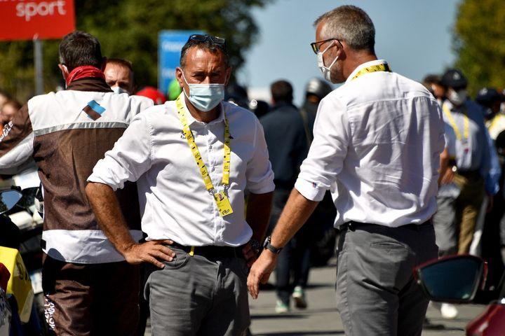 Thierry Gouvenou (left) during the Tour de France 2020 (ANNE-CHRISTINE POUJOULAT / AFP)