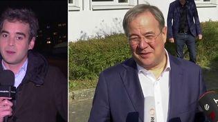 ArminLaschetet Olaf Scholz étaient les deux favoris pour le poste de chancelier en Allemagne. Devancé lors des élections législatives par Olaf Scholz, Armin Laschet a félicité timidement son adversaire. Laurent Desbonnets journaliste à France Télévisions fait le point sur la situation depuis Berlin (Allemagne). (CAPTURE ECRAN / FRANCEINFO)