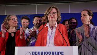 La tête de liste LREM aux européennes, Nathalie Loiseau, s'exprime après les résultats des élections, le 26 mai 2019, à Paris. (LUDOVIC MARIN / AFP)