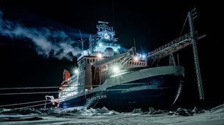 """Le brise-glace """"Polarstern"""" lors de sa mission dans l'Arctique, le 27 mai 2020. (LUKAS PIOTROWSKI / ALFRED WEGENER INSTITUT / AFP)"""