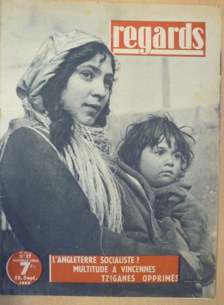 """Tsiganes opprimés"". Reportage paru dans Regards, no 17. 15 septembre 1945. Coll. FNASAT/Médiathèque Matéo Maximoff, Paris.  (DR)"