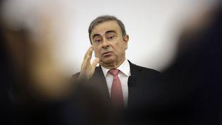 Carlos Ghosn, l'ancien patron deRenault-Nissan, lors d'une conférence de presse, à Beyrouth (Liban), le 8 janvier 2020. (JOSEPH EID / AFP)