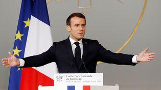 Emmanuel Macron lors de laConférence nationale du handicap à l'Elysée, le 11 février 2020. (GONZALO FUENTES / POOL)