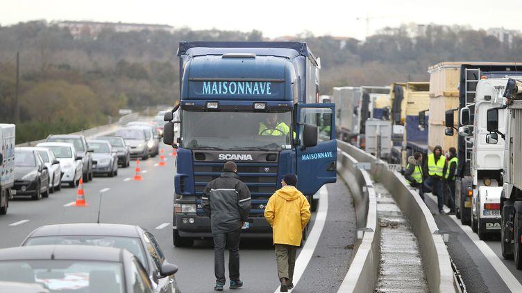 Une centaine de camions bloquent l'autoroute A63 entre Bayonne et Biarritz, le 1er décembre 2013. (  MAXPPP)