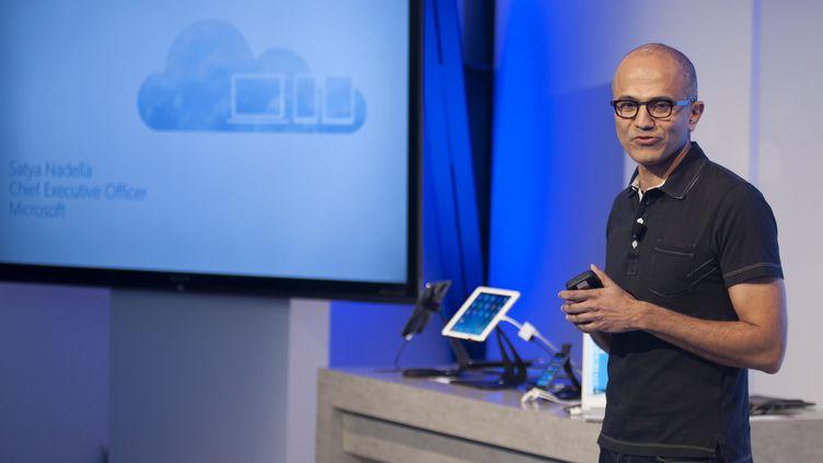 Ledirecteur général du groupe américain Microsoft,Satya Nadella, à San Francisco (Californie, Etats-Unis), jeudi 27 mars 2014. (JOSH EDELSON / AFP)