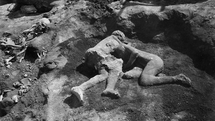 Le moulage tel qu'il a été découvert par Vittorio Spinazzola en 1914. (Soprintendenza Pompei)