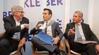 Jean-Pierre Masseret, Florian Philippot et Philippe Richert, candidats aux régionales en Alsace-Champagne-Ardenne-Lorraine, lors d'un débat à Strasbourg (Bas-Rhin), le 10 novembre 2015. (MAXPPP)