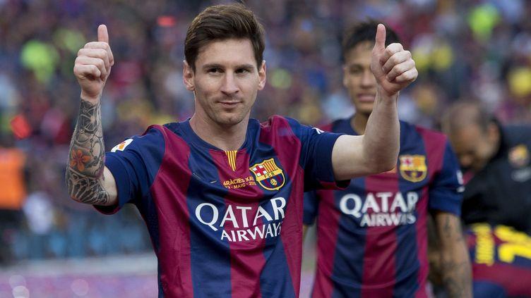 Lionel Messi, attaquant du FC Barcelone, lors d'un match de La Liga contre leRC Deportivo La Coruna, à Barcelone (Espagne), le 23 mai 2015. (ALBERT LLOP / ANADOLU AGENCY / AFP)