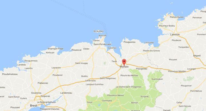 D'importantes inondations ont lieudimanche 23 juinà Morlaix, dans le département du Finistère. (GOOGLE MAPS)