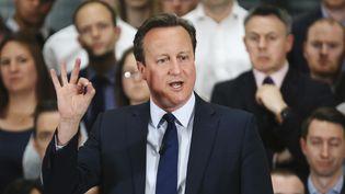 Le Premier ministre britannique David Cameron, lors d'une session de questions-réponses sur le référendum sur l'éventuelle sortie du Royaume-Uni de l'Union européenne, le 5 avril 2016, à Birmingham (Royaume-Uni). (CHRISTOPHER FURLONG / REUTERS)