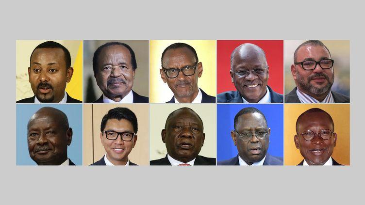 De gauche à droite en haut, les présidents Abiy Ahmed (Ethiopie), Paul Biya (Cameroun), Paul Kagame (Rwanda), JohnMagufuli (Tanzanie) et le roi Mohammed VI (Maroc). De gauche à droite en bas, les présidents Yoweri Museveni (Ouganda), Andry Rajoelina (Madagascar), Cyril Ramaphosa (Afrique du Sud), Macky Sall (Sénégal) et Patrice Talon (Bénin). (AFP/FYV montage)