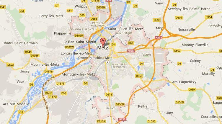 Un candidat PS aux élections départementales à Metz (Moselle)a été agressé, jeudi 26 mars, alors qu'il faisait campagne dans les rues de la ville. (GOOGLE MAPS)