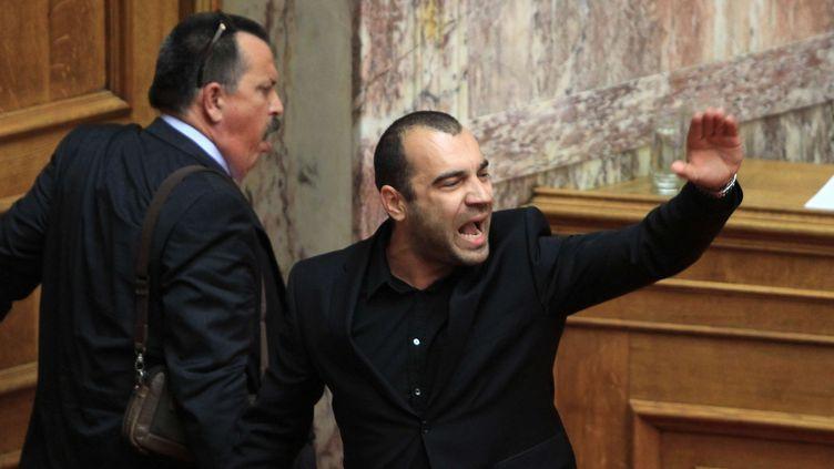 Panagiotis Iliopoulos, député grec d'extrême-droite insulte d'autres députés au Parlement à Athènes le 17 mai 2013. ( PANAYIOTIS TZAMAROS / SIPA)