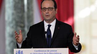 François Hollande, jeudi 5 février 2015 lors de sa conférence de presse, organsiée au palais de l'Elysée. (ALAIN JOCARD / AFP)