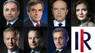 François Fillon, Alain Juppé etNathalie Kosciusko-Morizet font partie des sept candidats à la primaire à droite. (KENZO TRIBOUILLARD / AFP)