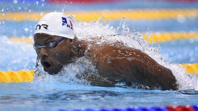 Mehdy Metella le 20 mai 2016 à Londres à l'Euro de natation. (STEPHANE KEMPINAIRE / AFP)
