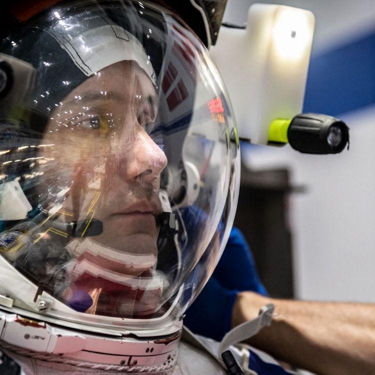Le Français Thomas Pesquet, astronaute de l'Agence spatiale européenne, lors d'un entraînement, à Houston (Texas, Etats-Unis), le 19 juin 2020. (BILL STAFFORD / NASA / AFP)