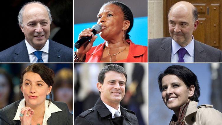 Laurent Fabius (Affaires étrangères), Christiane Taubira (Justice), PierreMoscovici (Economie), Cécile Duflot (Logement), Manuel Valls (Intérieur) et Najat Vallaud-Belkacem (Droits des femmes) font partie du premier gouvernement de l'ère François Hollande. (AFP / FTVI)