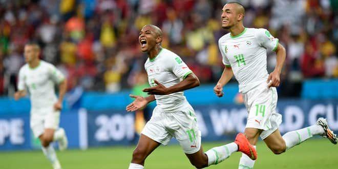 Yacine Brahimi et Nabil Bentaleb célèbrent la victoire des Fennecs face à la Corée du Sud (4-2).