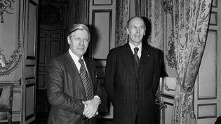 Helmut Schmidt et Valéry Giscard dEstaing, le 3 février 1977. (AFP)