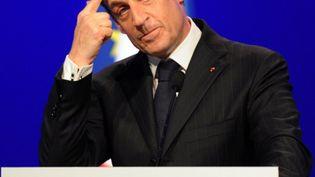 Nicolas Sarkozy durant un meeting, le 29 avril 2012 à Toulouse (Haute-Garonne). (PASCAL PAVANI / AFP)