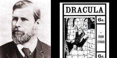 """Portrait de Bram Stoker à côté d'une illustration de son roman """"Dracula""""  (DR)"""