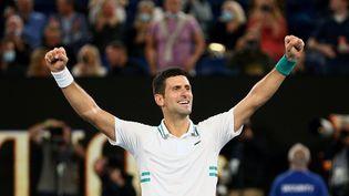 Novak Djokovic lors de la finale de l'Open d'Australie à Melbourne, le 21 février 2021. (ROB PREZIOSO / TENNIS AUSTRALIA / AFP)