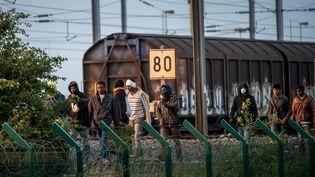 Des migrants ayant réussi à atteindre le terminal de l'Eurotunnelmarchent à côté de la voie ferrée dans l'espoir de trouver un convoi pour le Royaume-Uni, le 28 juillet 2015. (PHILIPPE HUGUEN / AFP)